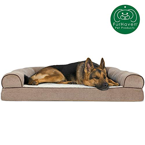 Furhaven Pet Dog Bed | Orthopedic Faux Fleece & Chenille Soft Woven Traditional Sofa-Style Living Room Couch Pet Bed w/ Removable Cover for Dogs & Cats, Cream, Jumbo (Belgian Malinois German Shepherd Mix Puppies For Sale)