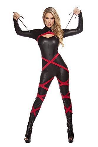 Roma Costume Women's 1 Piece Naughty Ninja, Red/Black,