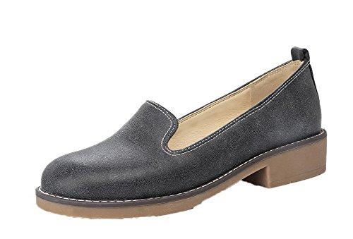 Tacón Agoolar Redonda Slip Puntera Bajo Negro Mujeres Pu De Zapatos on axREwr6a