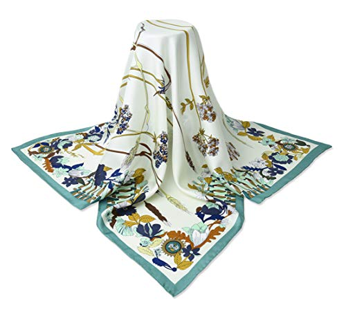 """corciova 35"""" 14 Timmy Twill 100% Real Mulberry Silk Square Women Scarfs Scarves Ivory Wheats Heather Flowers Patterns"""