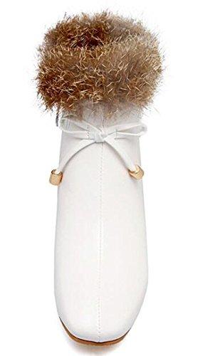 Idifu Moda Donna Si Inchina Pelliccia Morbida Punta Quadrata Medio Tacchi Chunky Caviglia Stivali Con Cerniera Laterale Bianco