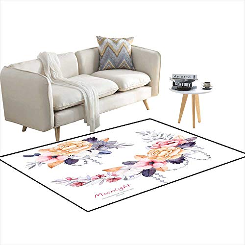 Area Rugs for Bedroom Beautiful Winter Collection wi Branches Cotton Plants Flowers 3'x17' ()