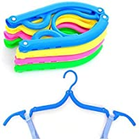 Pack of 5 Folding Clothes Hangers Portable Plastic Travel Hanger with Anti-slip Grooves