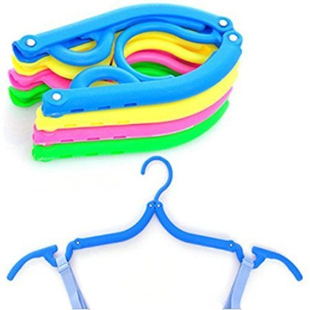 Pack of 5 Folding Clothes Hangers Portable Plastic Travel Hanger with Anti-slip (5 Pack Plastic Hangers)