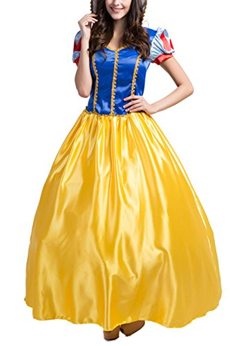 Cheap Princess Costumes For Adults (AIKOSHA ROMAN Womens Halloween Party Role-playing Snow White Princess Costume Gown Dress)