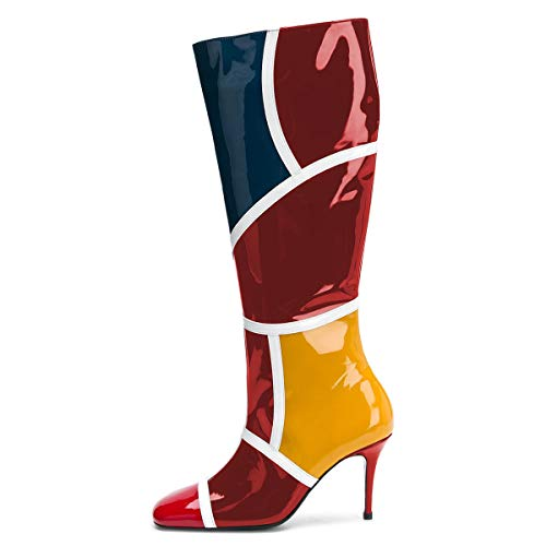 Long Colorful Heels Women Boots Square Patent Toe High Size Knee High 4 15 Leather FSJ Red Shoes US qC45HxYH