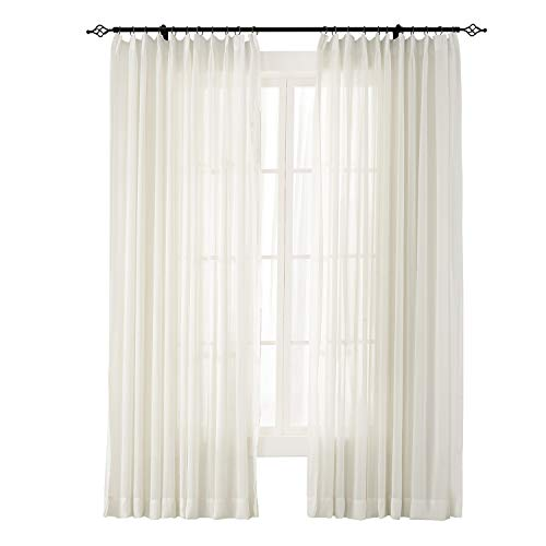 (ChadMade Indoor Outdoor Solid Sheer Curtain Pinch Pleat Beige 84