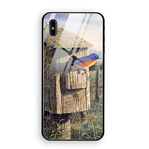 iPhone X (5.8inch), Custom Design Tempered Glass Case Compatible for iPhone X Autumn Birdhouse and Farm