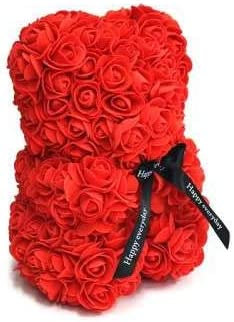 Oso hecho de foam cubierto de rosas de goma eva con lazo en el pecho en un estuche transparente con peana y tapa.: Amazon.es: Hogar