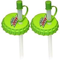 Jokari 2 Count Mtn Dew Modern Logo Sip and Seal Soda Can Straws, Green