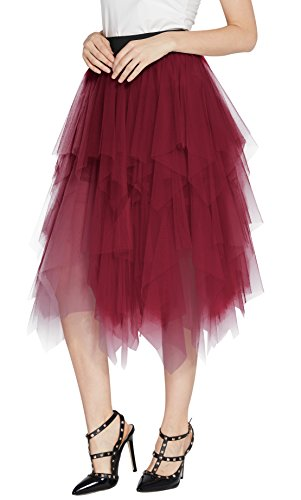 Urban CoCo Women's Sheer Tutu Skirt Tulle Mesh Layered Midi Skirt (S, Wine Red)