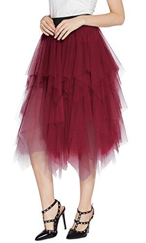 (Urban CoCo Women's Sheer Tutu Skirt Tulle Mesh Layered Midi Skirt (S, Wine)