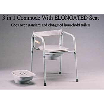 Amazon Com Elongated Seat 3 In One Bedside Commode Made