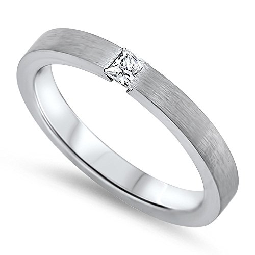 Steel Tension Set Ring (Princess Cut Clear Tension Set Cubic Zirconia Matte Band Ring Stainless Steel Size 15)