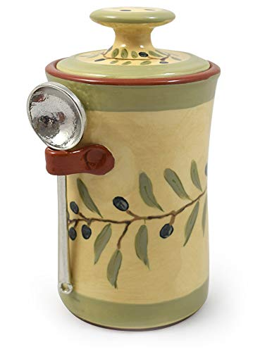 - American Handmade Terra Cotta Pottery Kitchen Canister with Pewter Spoon, Olive Branch Motif