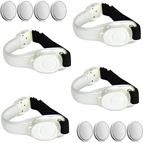 ANYTINUS 4 Pack LED Glow Armbands Bracelets Lights Up Flashlights Ankle Band Flashing Safety Light for Women Men Runners Joggers Pet Owners Cyclists Come with 8 Extra Button Battery (White)]()
