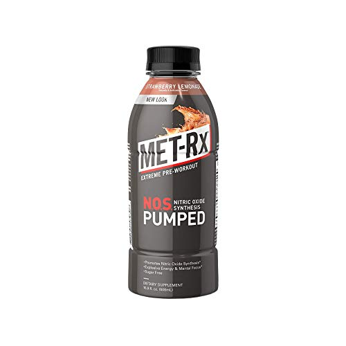 MET-Rx NOS Pumped, Strawberry Lemonade, 16.9 oz. (12 Count), Pre-Workout Ready to Drink (RTD) Sugar Free Energy Supplement with Caffeine, and Amino Acids for High Intensity Workouts