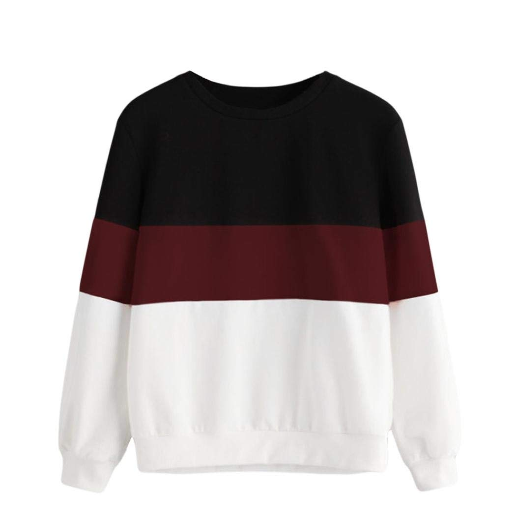 ZTY66 Women's Casual Long Sleeve Cut Sew Stripe Crop Top Hoodies Sweatshirts Blouses Shirts Jumpers Tunic Pullover (M, Wine Red)