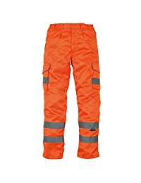Yoko Mens Hi Vis Polycotton Cargo Trousers with Knee Pad Pockets