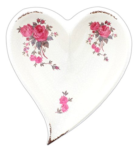 Special T Imports Ceramic Heart with Roses Trinket Jewelry Tray (9.5