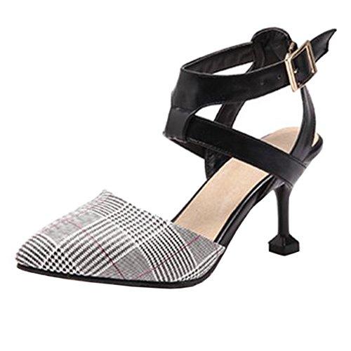 Closed Sandals Women Toe Beige Heels TAOFFEN 5xq7T4nwY