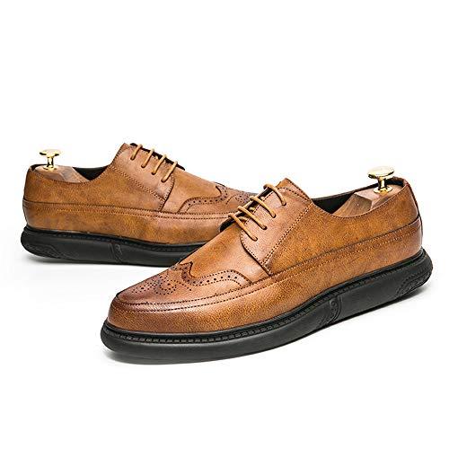 compagnia scarpe guidare Pelle intagliata Business casa camminare punta e Scarpe brogue tinta shoes suola Uomo 2018 vivere Giallo per uomo da Oxford in unita arrotondata Jiuyue p17anSf
