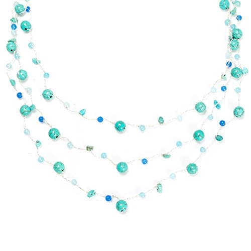 Chuvora Blue Turquoise Gemstones and Resin Beads Three (3) Strand Silk Thread Long Necklace ()