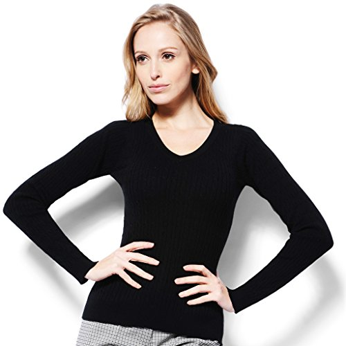 - Monterey Club Ladies Classic Solid Cable V-Neck Sweater #6134 (Black, Large)