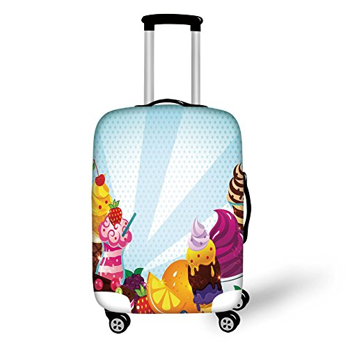 Travel Luggage Cover Suitcase Protector,Ice Cream Decor,Yummy Menu with Chocolate Raspberry Cherry Orange Strawberry Flavors Image Decorative,Multicolor,for Travel (Cherry Rockford)