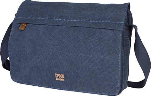 Troop London Canvas Messenger Bag For Tablets Leather Trims Size Small TRP0241 (1 - -