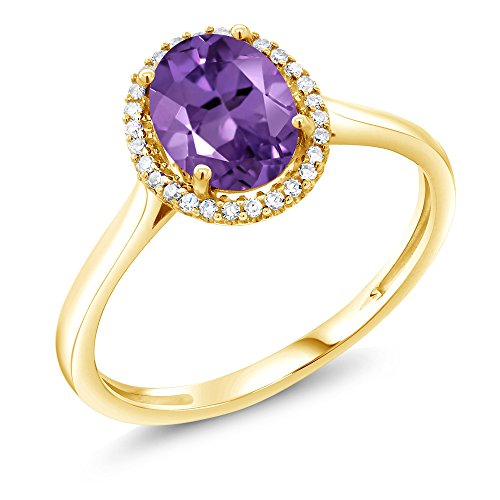 1.00 Ct Oval Purple Amethyst 10K Yellow Gold Diamond Ring (Size 5) (Amethyst Oval Gold)