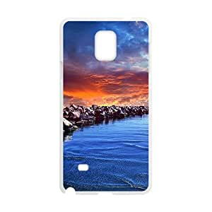 Blue Sea And Rocks White Phone Case for Samsung Galaxy Note4