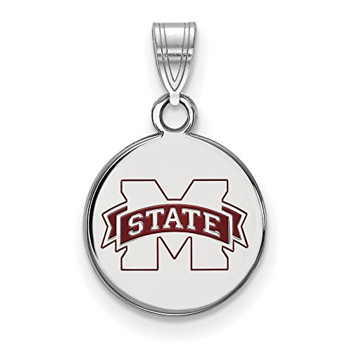 Jewelry Stores Network Mississippi State University Bulldogs SS Small Disc Pendant 1.52 gr