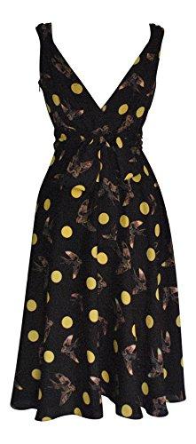 Vintage, Retro, 1950 er-Style, Vintage-Stil, Vogel- und Polka Dot Print Tellerrock Kleid
