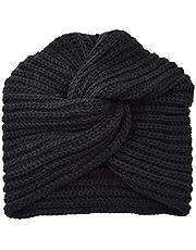 Szydełkowana dzianinowa turban opaska na głowę boho ciepła nieporęczna szydełkowana opaska na głowę opaska na głowę ocieplacz na uszy dla kobiet, Czarny, Jeden rozmiar