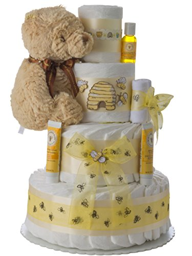 Winnie the Pooh 4 Tier Diaper Cake by Lil Baby Cakes by Lil' Baby Cakes