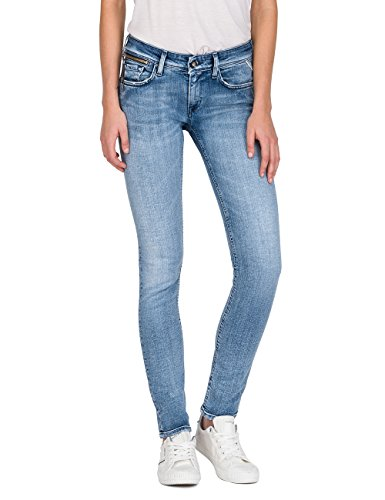 10 Zip Coin Donna Skinny light Blue Replay Denim Jeans Blu Luz AvqUAxT