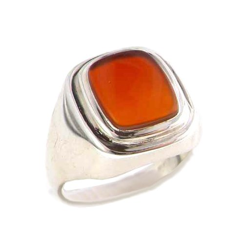 - Gents Solid 925 Sterling Silver Natural Carnelian Mens Signet Ring - Size 6.75 - Sizes 6 to 13 Available