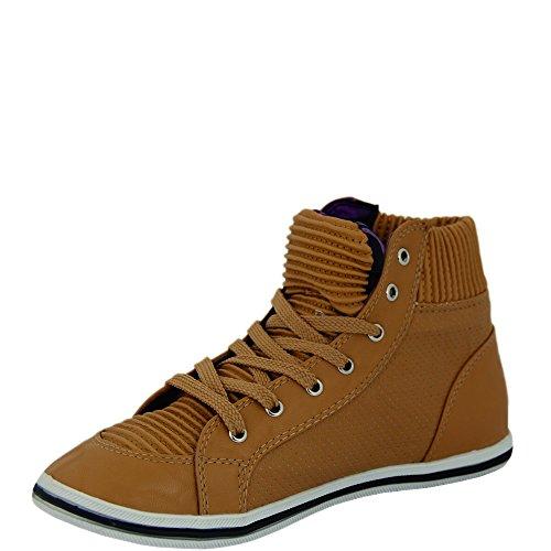 Unbekannt - Zapatos de cordones de Material Sintético para mujer - beige camel