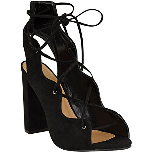Womens Peep Toe Platform Suede Club Heels with Cut Out Black - 8