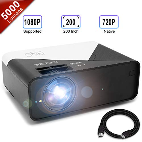 GRC Video Projector, 5000 Lux 1920×1080 Supported Full HD Native 720P Mini Movie Projector, with Built-in HiFi Sound Speaker, Compatible with TV Stick, HDMI, USB , AV, DVD for Multimedia Home Theater