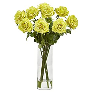 Nearly Natural 1798-LY Rose Artificial Cylinder Vase Silk Arrangements Light Yellow 45