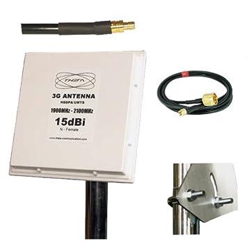 yagiwlan UMTS HSDPA - Panel de antena 3G (15dBi, cable de 5 m) compatible con Vodafone, O2, T mobile: Amazon.es: Electrónica