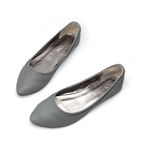 Always Pretty Womens Casual Pointed Toe Ballet Comfort Soft Slip On Flat Shoes Grey k4aNTGI