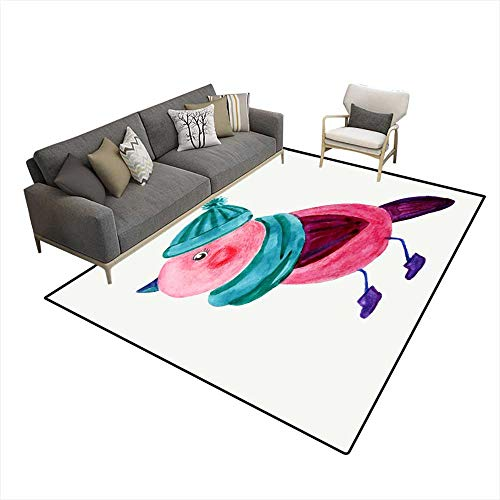 Extra Large Area Rug Winter Watercolor Illustration 6'x8' (W180cm x L240cm ()