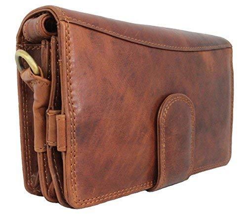 Travel Wallet For Men Women Organizer RFID Block Genuine Leather Wrist Bag Crossbody Handmade Vintage by Corno d´Oro brown Cairo