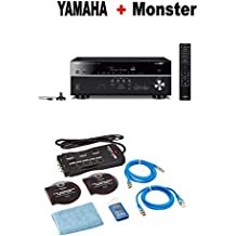 Yamaha RX-V685BL 7.2-Channel 4K Ultra HD AV Receiver with Wi-Fi Bluetooth and MusicCast Compatible with Alexa Black + Monster Home Theater Accessory Bundle