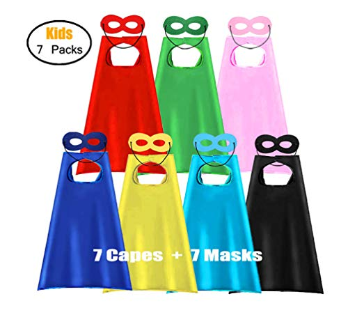 ADJOY Children Super Hero Capes and Masks for Kids - DIY Superhero Themed Birthday Party Dress Up Capes (7 Sets)