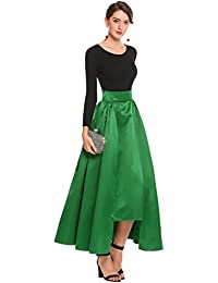 Women Fashion High Waist Solid Formal Party Wedding Skirt