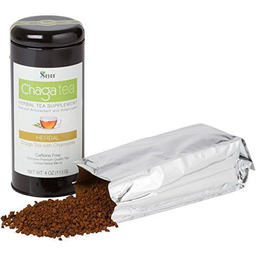 Sayan Siberian Chaga Mushroom Loose Tea with Chamomile - Exclusive Blend of Raw and Extract, 4 Oz Wild Harvested and Caffeine Free
